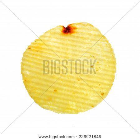 Isolate Potato Chip, A Closeup Photo Image Of Potato Chip Isolate On White Background Present A Deta