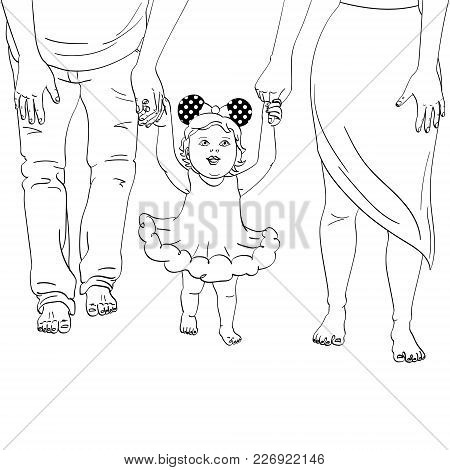 The First Steps Of The Child. Support For Parents. A Girl In A Dress, Holding Mom And Dad By The Arm
