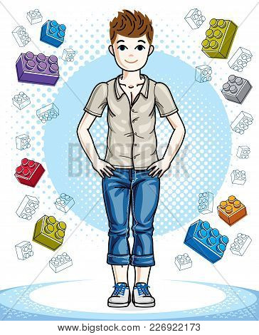 Cute Little Teen Boy Standing In Stylish Casual Clothes. Vector Human Illustration. Childhood Lifest