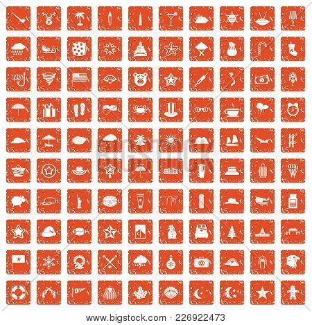 100 Star Icons Set In Grunge Style Orange Color Isolated On White Background Vector Illustration