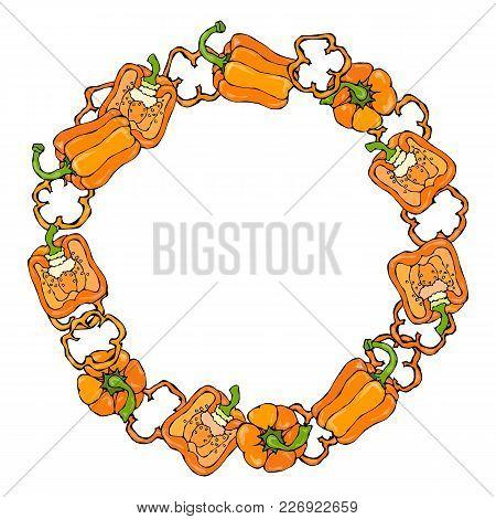 Orange Bell Peper Set. Half Of Sweet Paprika And Rings Of Pepper Cuts. Fresh Ripe Raw Vegetables. He