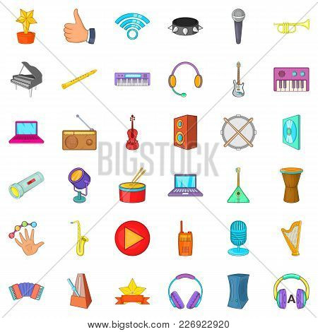 Deejay Icons Set. Cartoon Set Of 36 Deejay Vector Icons For Web Isolated On White Background