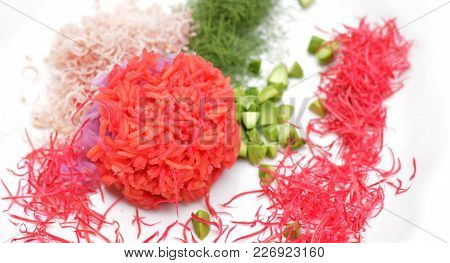 Colorful Cooked Rice That Coloring By Plant Pigment, Colorful Cooked Rice Ball With Vegetables On Wh
