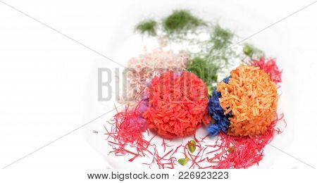 Colorful Cooked Rice That Coloring By Plant Pigment, Colorful Cooked Rice Ball With Vegetables Isola