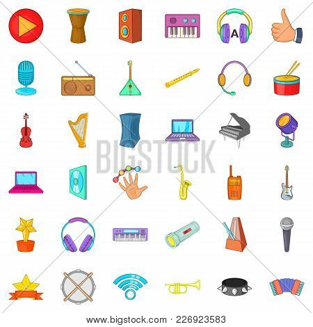 Music Party Icons Set. Cartoon Set Of 36 Music Party Vector Icons For Web Isolated On White Backgrou