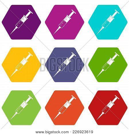 Syringe Icon Set Many Color Hexahedron Isolated On White Vector Illustration
