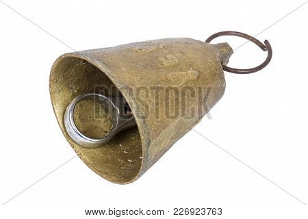 Old Bronze Bell On A White Background, Isolated