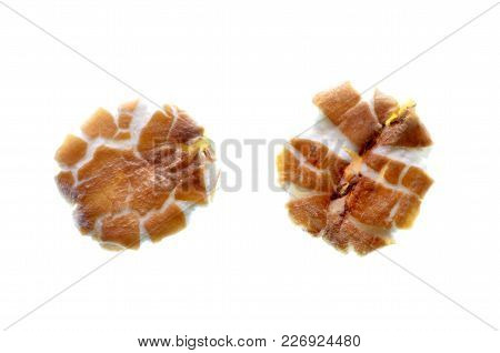 Isolate Rye Flakes, A Top View Close Up Photo Image Of Rye Flakes Isolate In White Background Presen
