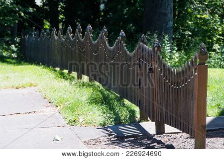 Residential  District Fence In Small Town, Washington State.