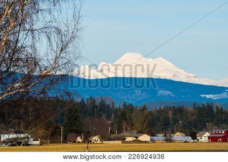 Mount Baker Viewed Across Farm Land In Skagit Valley, Wa