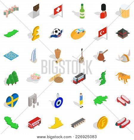 Kind Icons Set. Isometric Set Of 36 Kind Vector Icons For Web Isolated On White Background