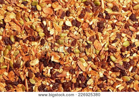 Top View Close Up Photo Of Granola Grain Texture