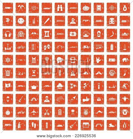 100 Adventure Icons Set In Grunge Style Orange Color Isolated On White Background Vector Illustratio