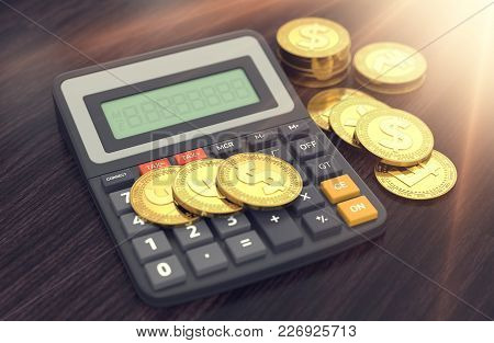 Different Golden Coins (dollar, Pound, Euro, Franc) And The Calculator With Empty Display To Put You
