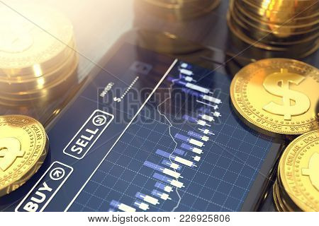 Smart Phone With Dollar Trading Chart On-screen Among Piles Of Golden Dollar Coins In Blurry Close-u