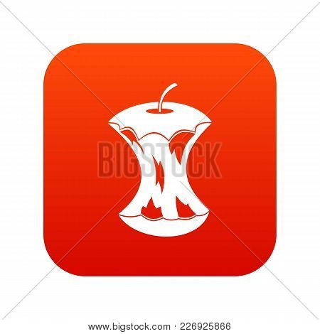 Apple Core Icon Digital Red For Any Design Isolated On White Vector Illustration