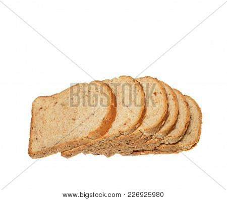 Isolate Cereal Bread, Side View Closeup Photo Of Sliced Cereal Bread Loaf Isolate On White Backgroun