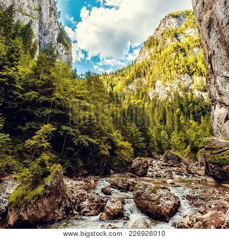 Wonderful Sunny Mountain Scenery. River In Canyon In Mountans Gloving In Sunlight. Gorgeus Unusual S