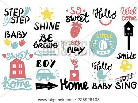 15 Children S Logo With Handwriting Little, Hi, Step By, Smile, Hello Baby, Sing, Shine, Welcome, Sw