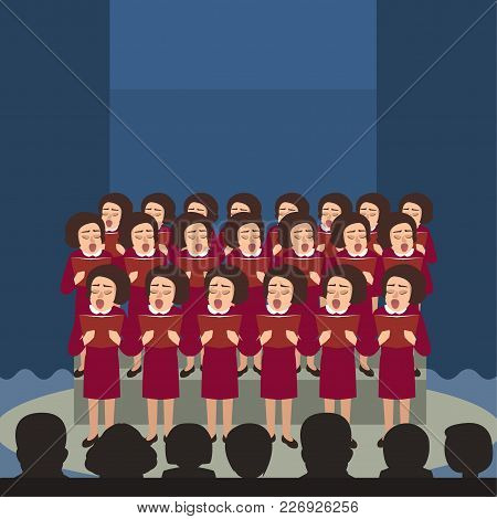 Women's Choir Performes At Stage Vector Cartoon