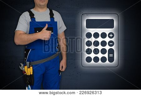 Calculator And Craftsman With Thumbs Up Picture