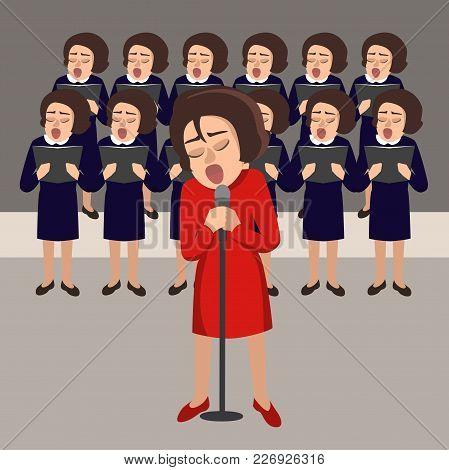 Women's Choir Vector Cartoon Illustration