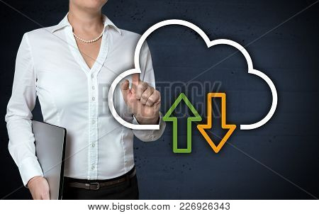 Cloud Concept Touchscreen Is Shown By Businesswoman.