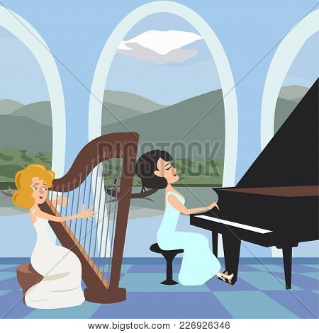 Women's Musical Performance At Romantic Hall Vector Cartoon
