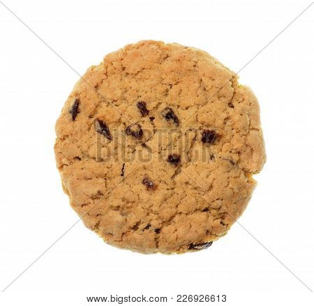 Isolate Raisin Cookie/biscuit, A Top View Closeup Photo Image Of Raisin Cookie/biscuit Isolate On Wh