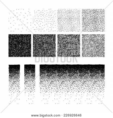 Set Of Stipple Seamless Pattern For Design. Set Of Gradient Ink Textures, Random Halftone, Pointilli