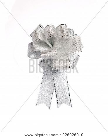 Isolated Bow, Silver Color Silk Bow Isolated On White Background, Luxury Silver Color Ribbon Bow For