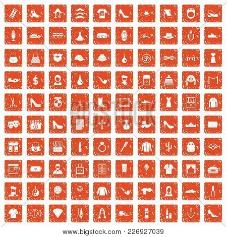 100 Stylist Icons Set In Grunge Style Orange Color Isolated On White Background Vector Illustration