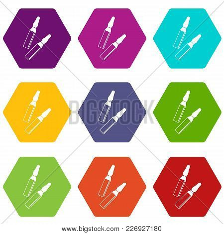 Iodine Sticks Icon Set Many Color Hexahedron Isolated On White Vector Illustration