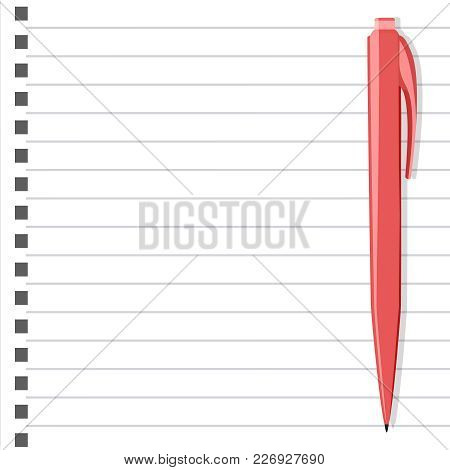 Vector Illustration Of White Notepad With Pink Pen And Place For Text. Stationery Background.