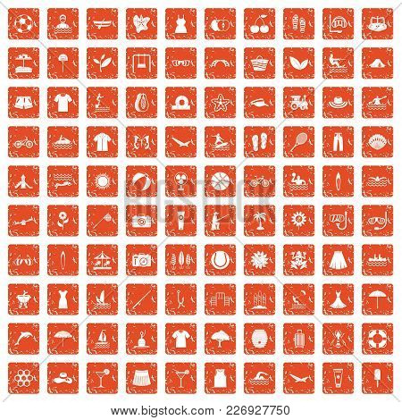 100 Summer Icons Set In Grunge Style Orange Color Isolated On White Background Vector Illustration