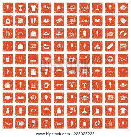 100 Summer Shopping Icons Set In Grunge Style Orange Color Isolated On White Background Vector Illus