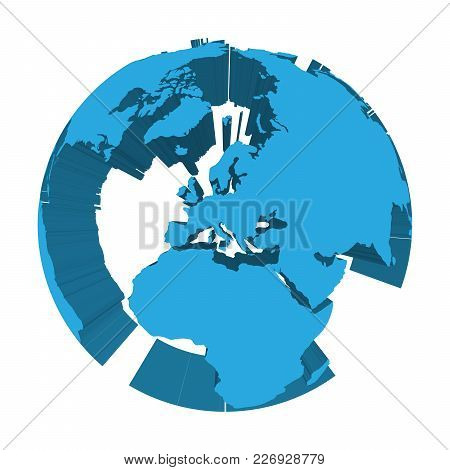 Earth Globe Model With Blue Extruded Lands. Focused On Europe. 3d Vector Illustration.