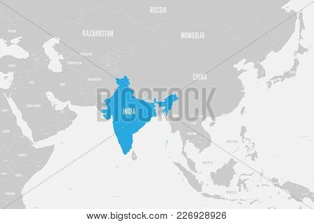 India Blue Marked In Political Map Of Southern Asia. Vector Illustration.