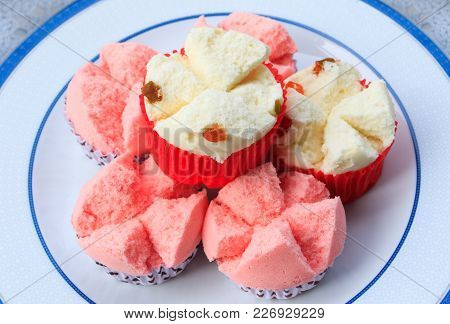 Close Up Of Thai Dessert Cupcake Or Thai Rice Flour Muffin For Chinese New Year. Thai Dessert Steame