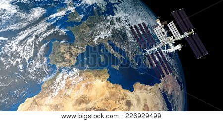 Extremely Detailed And Realistic High Resolution 3D Illustration Of International Space Station Iss