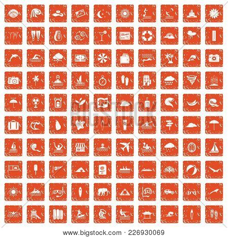 100 Surfing Icons Set In Grunge Style Orange Color Isolated On White Background Vector Illustration