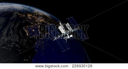 Extremely Detailed And Realistic High Resolution 3D Illustration Of A Satellite Orbiting Earth. Shot
