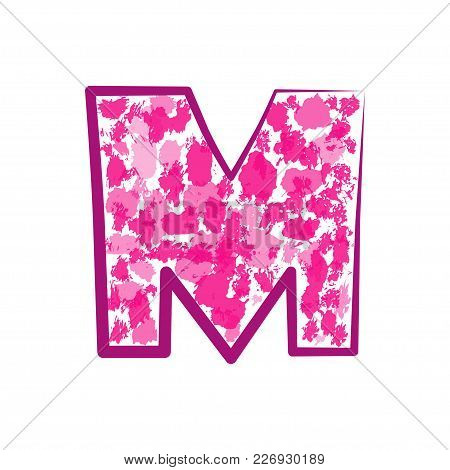 English Pink Letter M On A White Background. Vector Illustration.