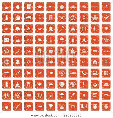 100 Sushi Bar Icons Set In Grunge Style Orange Color Isolated On White Background Vector Illustratio