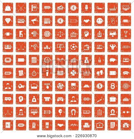 100 Sweepstakes Icons Set In Grunge Style Orange Color Isolated On White Background Vector Illustrat