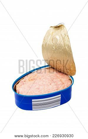 Cooked Ham From The Can Isolated On White Background. Selective Focus.