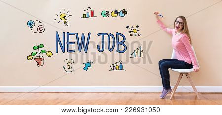 New Job With Young Woman Holding A Pen In A Chair