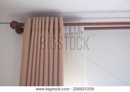 Long Curtain On The Window. Luxury Curtain Home Decor
