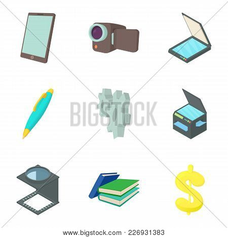 Film Project Icons Set. Cartoon Set Of 9 Film Project Vector Icons For Web Isolated On White Backgro
