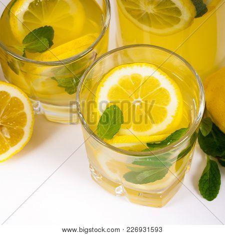 Lemonade Drink With Lemon Juice. Selective Focus.